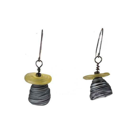 Black & Gray Bell Earrings