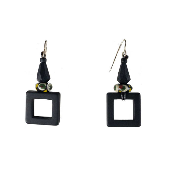 Black Square Resin Earrings