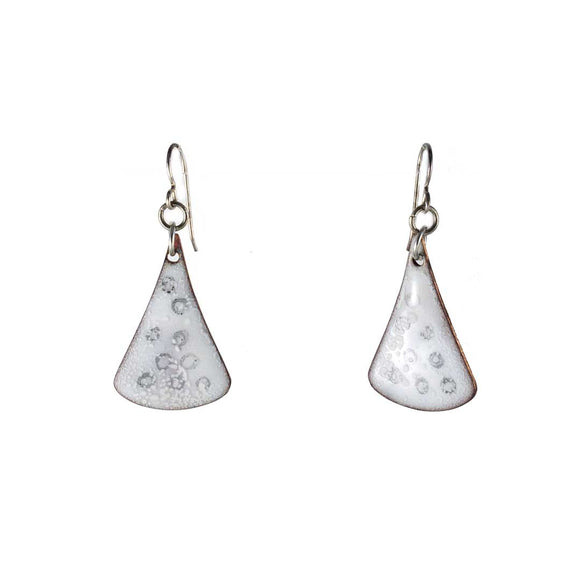 White Gray Enamel Drop Earrings