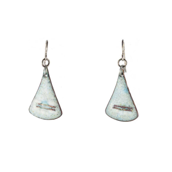 Light Blue Enamel/Copper Drop Earrings