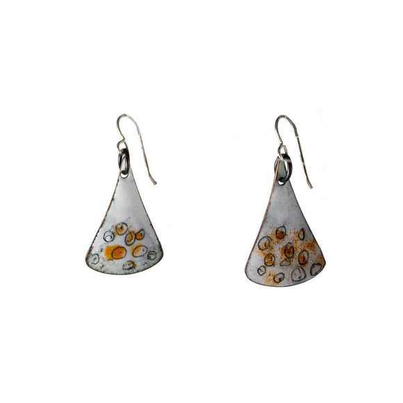White/Orange Enamel Drop Earrings