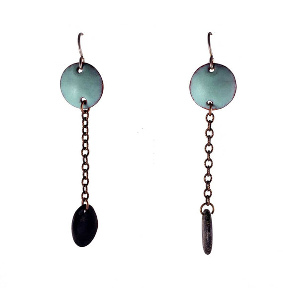 Turquoise Blue Enamel Circle Drop Earrings