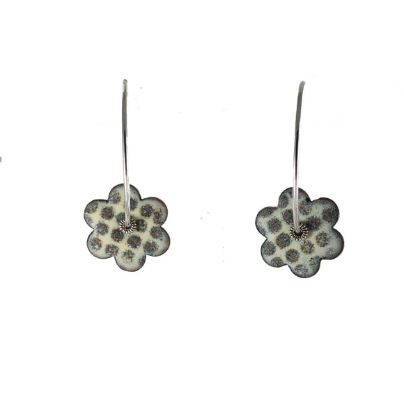 Olive Flower Enamel Silver Hoop Earrings