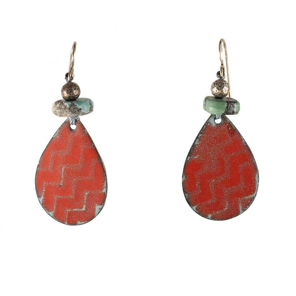 Red Gray Enamel Pear Drop Earrings