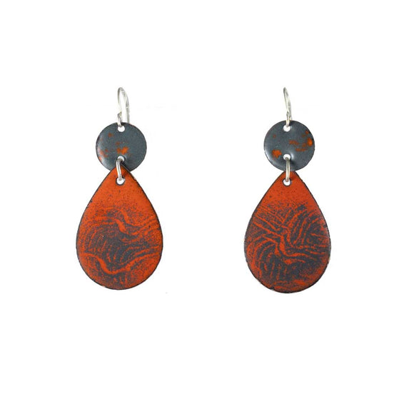Red Turquoise Blue Enamel Pear Drop Earrings