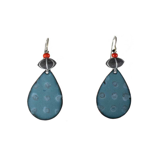 Blue/Gray Enamel Pear Drop Earrings