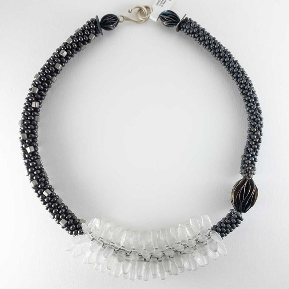 Black Crochet White Glass & Metal Necklace