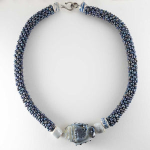 Gray Blue Crochet Necklace