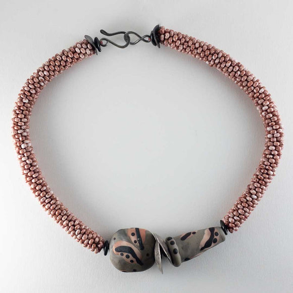 Pink Gray Crochet Necklace