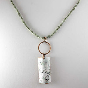 Half Tube Enamel/Brass/Green Bead Necklace