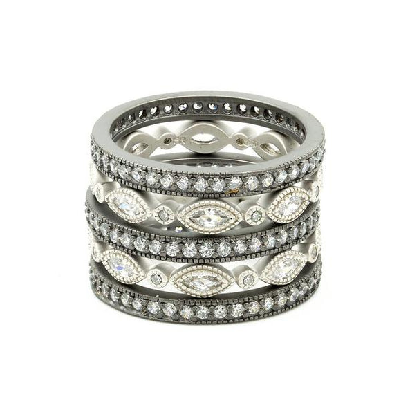 Thin Marquise Eternity set of 5 Rings