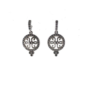 Open Small Filigree Disc Drop Earrings