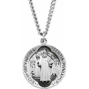 Sterling Silver St. Benedict Medal Necklace
