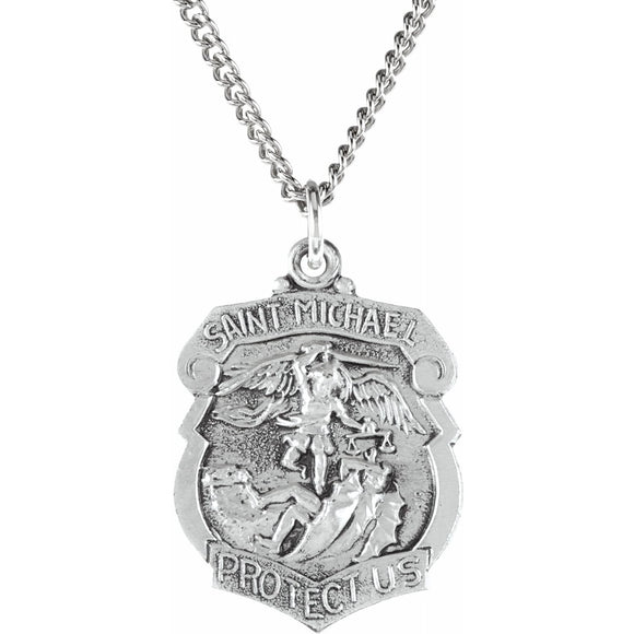 Sterling Silver St. Michael Medal Necklace