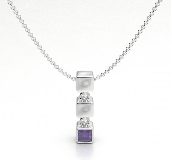 Cube with Amethyst Pendant