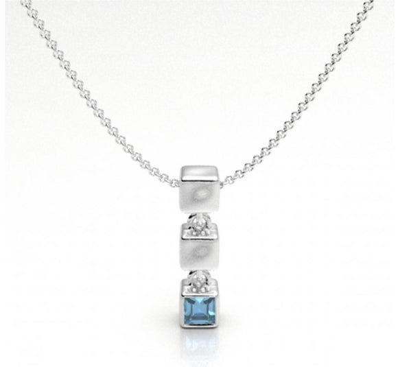 Cube with Blue Topaz Pendant