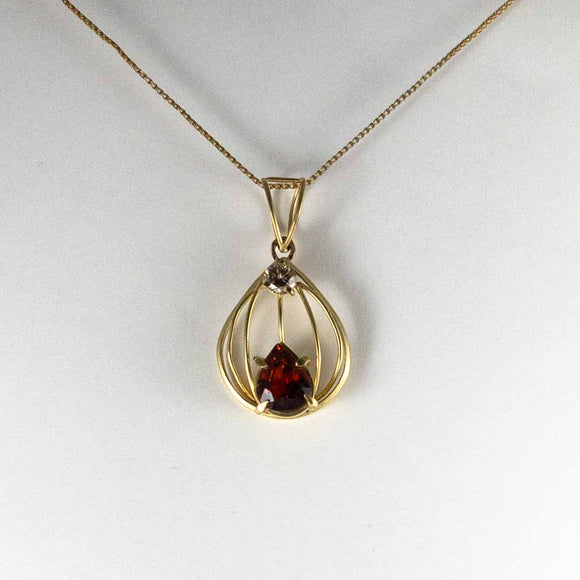 Spessartite Garnet .5ct Champagne Diamond 18K Yellow Gold Pendant