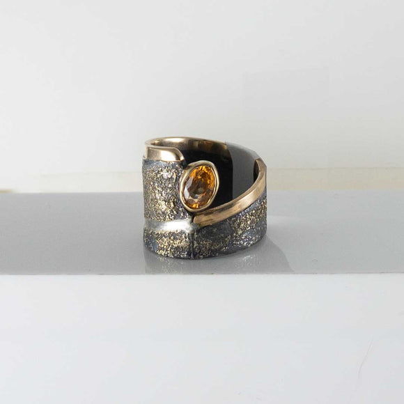 Silver & 18K Yellow Gold Spessartite Garnet Ring