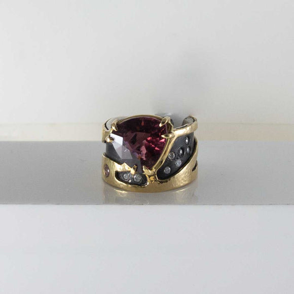Silver & 18K Yellow Gold Rubellite Tourmaline Diamond  Ring