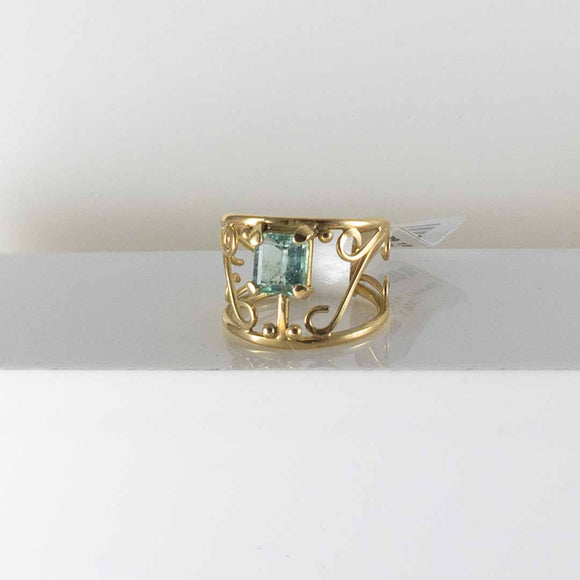 18K YG Colombian Emerald Ring