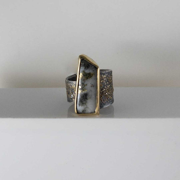 Silver & 18K Yellow Gold in Quartz Diamond Ring