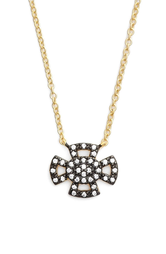 Two Tone Open Maltese Pave Pendant Necklace