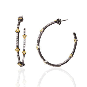 Pavé Arrow Station Hoop Earrings