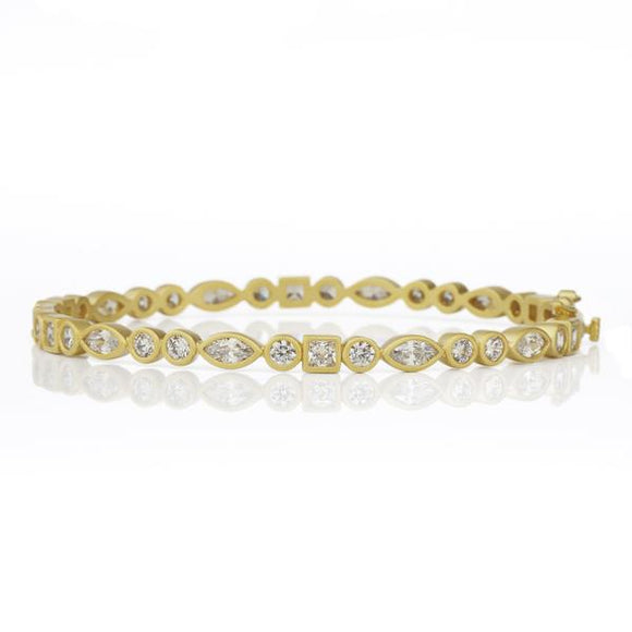 Classic Medium Alternating Square / Marquise Hinge Bangle