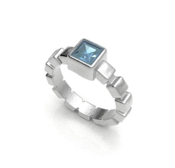 Ice Cube Blue Topaz Ring, size 7