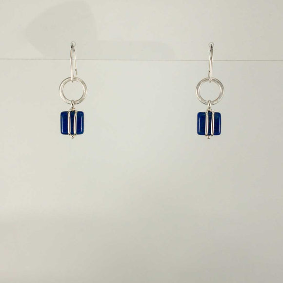 Square and Circle Sterling Silver Earrings (lapis)