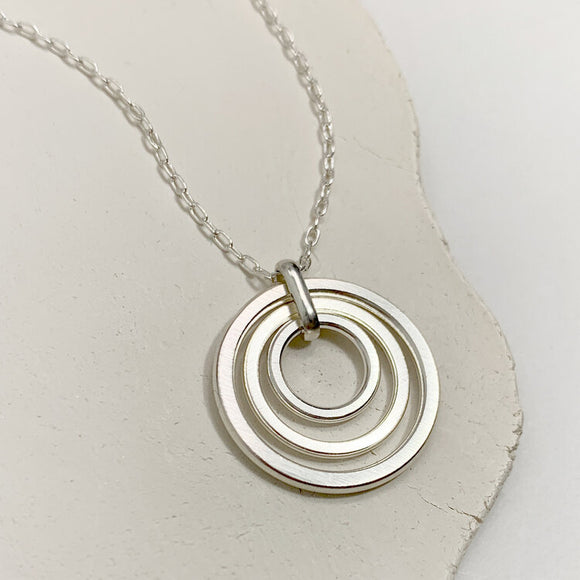 Triple Circle Sterling Silver Necklace