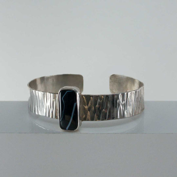 Striped Agate Silver Cuff