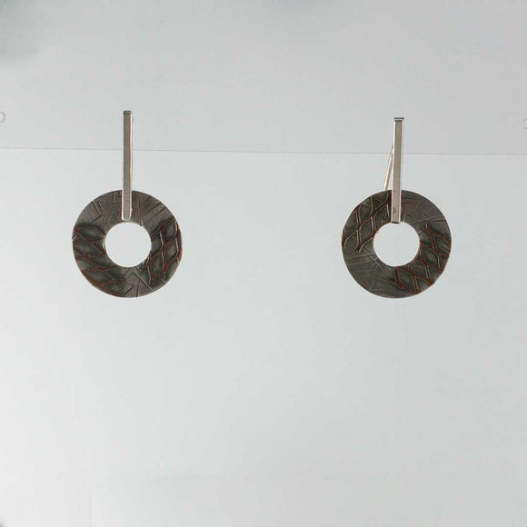 Sterling Silver and Copper Circle Earrings