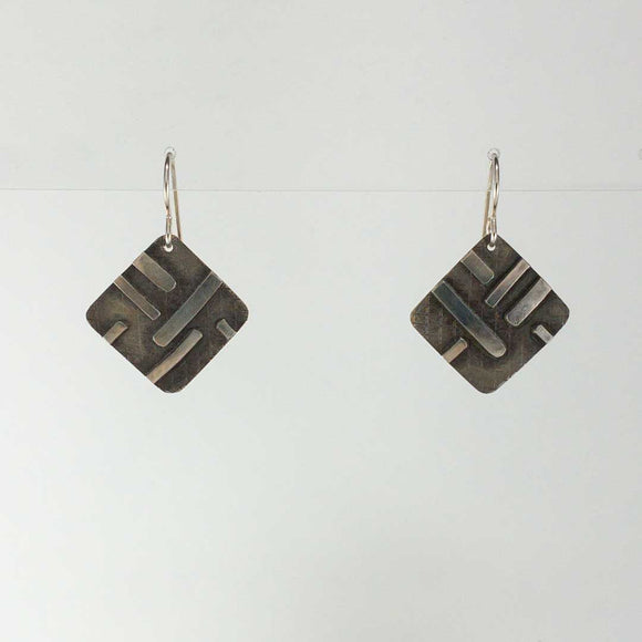 Embossed Square Silver Earrings