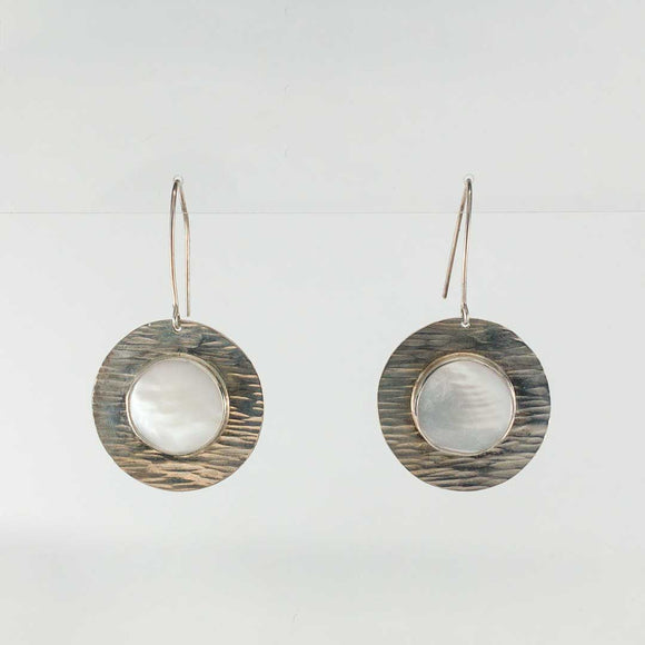 Mother of Pearl and Hammered Silver DIsc Earrings