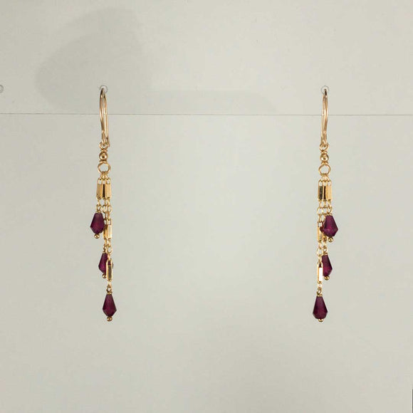 Tassel Gold-filled Earrings (garnet)