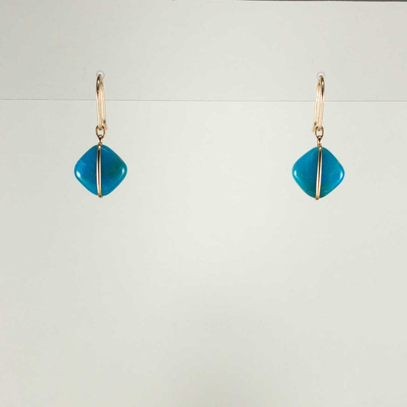 Diamond-shaped Gold-filled Earrings (turquoise)