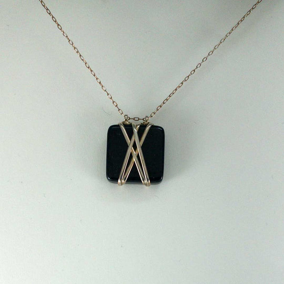 Double X Square Sterling Silver Necklace (dumortierite)