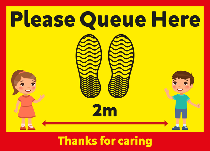 Covid-19 Child Friendly Please Queue Here Floor Graphic