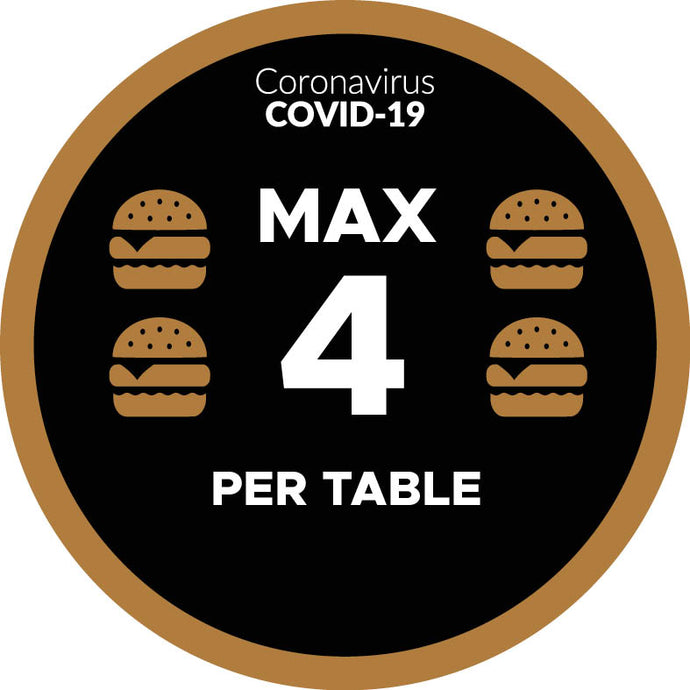 Covid-19 Max 4 Per Table Graphic