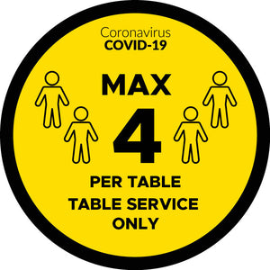 Covid-19 4 Per Table, Table Service Only Table Graphics