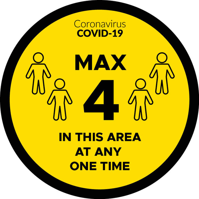 Covid-19 4 In This Area At One Time Door Graphic