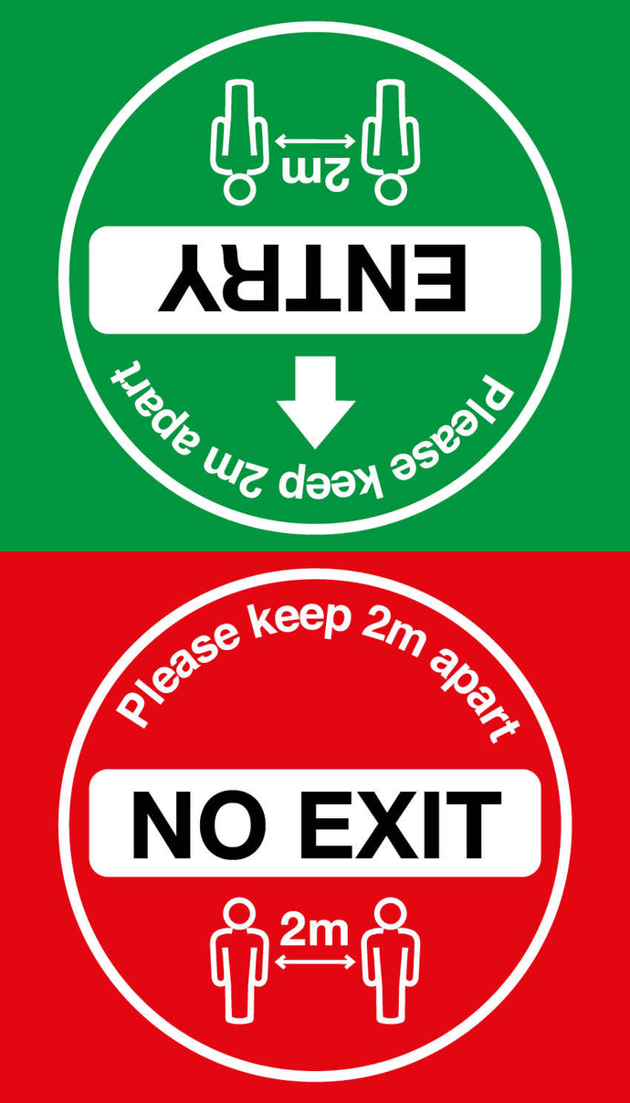 Covid-19 Entry/Exit Double Floor Sign