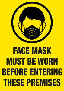 Covid-19 Face mask must be worn posters