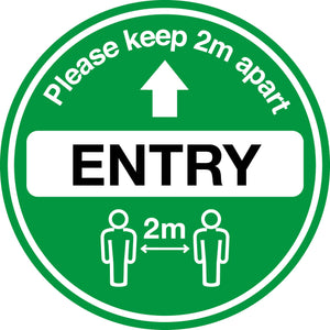 Covid-19 Please Keep 2m Apart (Entry) Floor Graphic Circular