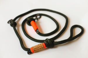 Muskoka Moss Rope Leash - Orange Accent