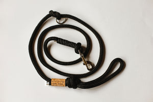 Black Rope Leash - Reflective Black Accent