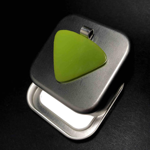 Green Pendant as Guitar Plectrum