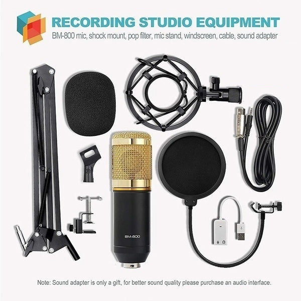 2020 New Upgraded Condenser Microphone Kit Tripod BM800 Set Pro Audio Studio for Recording & Brocasting