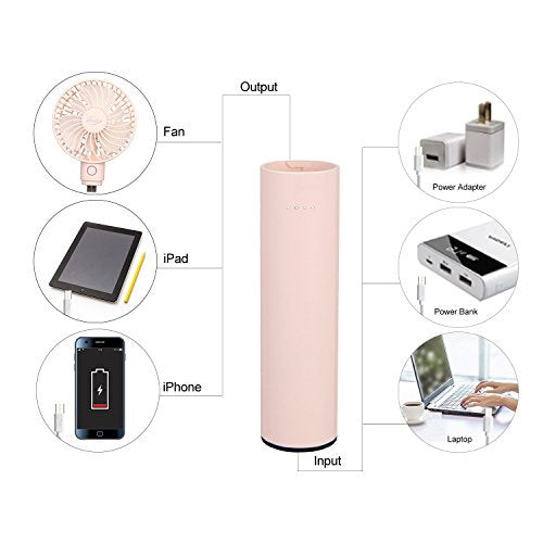 efluky Mini USB Portable Fan, Small Desk Fan, Personal Handheld Fan - Battery Operated Fan Removable 2600mAh Power Bank, 5 Speeds Adjustable, Pink